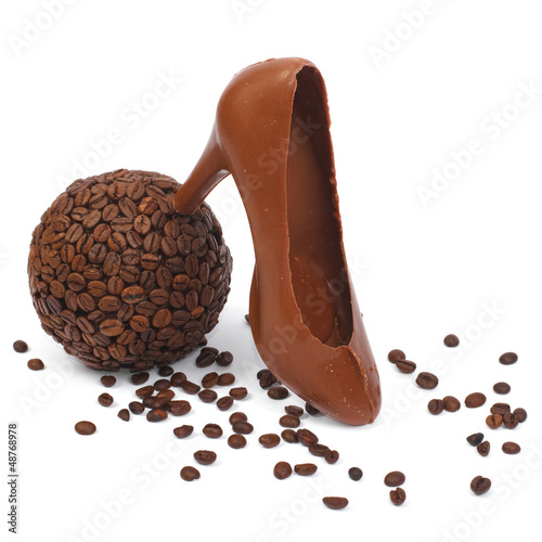bowl of coffee and chocolate shoe