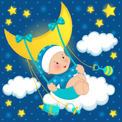 baby on the moon vector