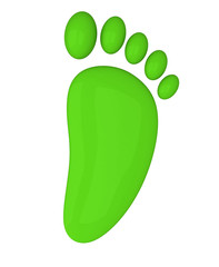 Green foot icon, 3d image