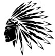 red indian chief black and white illustration
