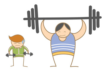 cartoon character of two men working out in gym