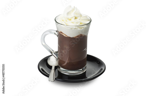 Hot chocolate close up on the white