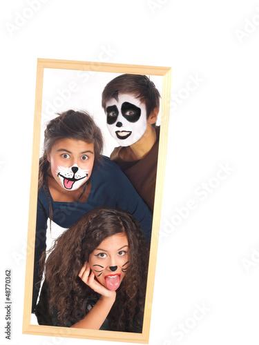geschwister mit panda, hund und katze schminke