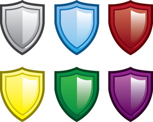 Isolated shields in various colors