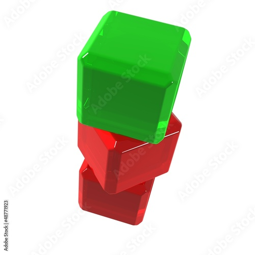 Green cube on red ones