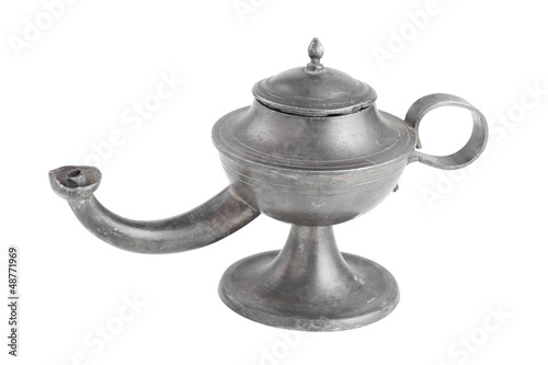Arabic oil lamp, lamp of Aladdin, isolated on white