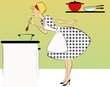 1950s dressed woman cooking