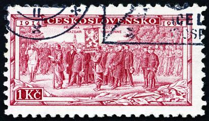 Postage stamp Czechoslovakia 1934 Legion Receiving Battle Flag