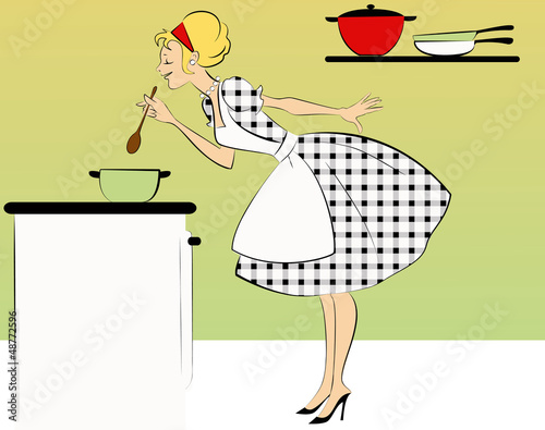 1950s Dressed Woman Cooking Stock Image And Royalty Free Vector