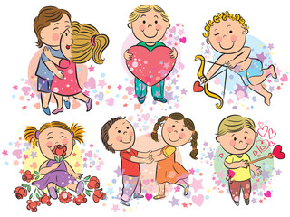 Illustration of kids with love