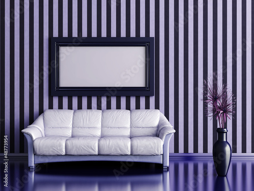 interior with sofa and plant on a background of striped wall