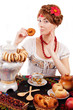 Russian woman eating traditional food