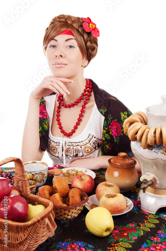 Russian woman with traditional food