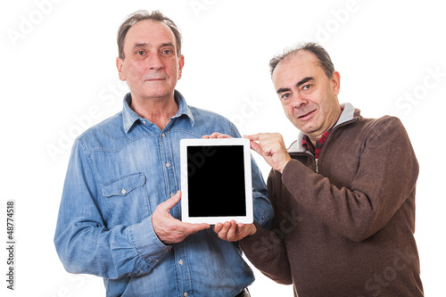 Two Senior Men with Tablet PC