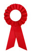 Award rosette prize with red ribbon blank
