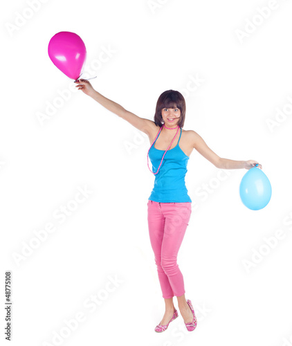 Young caucasian woman with  balloon
