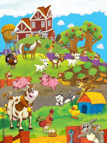 Foto op Canvas Boerderij On the farm - the happy illustration for the children