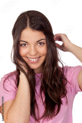 Pretty young girl with long hair