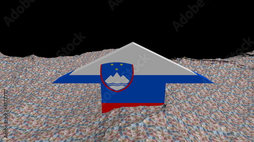 Slovenia flag arrow in abstract ocean of Euros animation