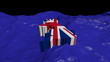 UK map flag in abstract ocean animation