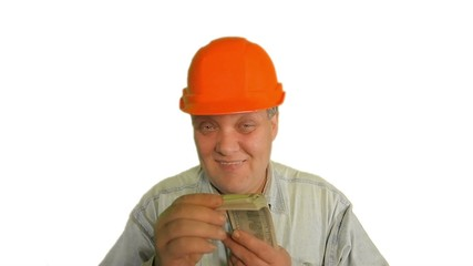 Foreman holding the money on the white background