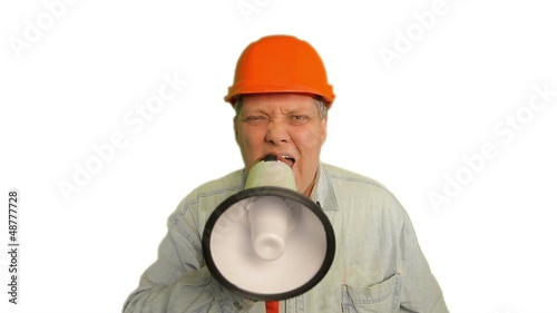 Foreman shouting into megaphone on white background