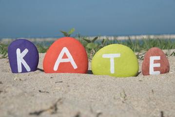 Kate, female name on colourful stones