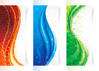 Set of curve elements vertical backgrounds/banners.