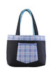 A blue jean fabric lady handbag on white background