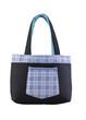 A blue jean fabric lady handbag on white background