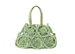 A beautiful green fabric weaved lady handbag