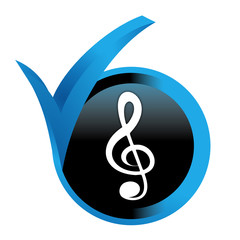 clef de sol sur bouton validé bleu