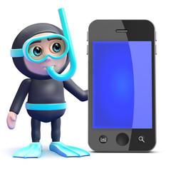 Scuba guy by a smartphone