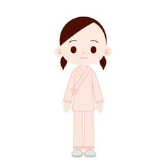入院着の女性