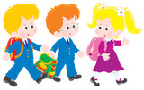 schoolchildren walking and talking after lessons poster