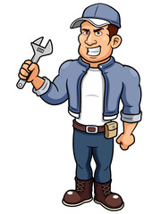 illustration of Cartoon mechanic holding a wrench