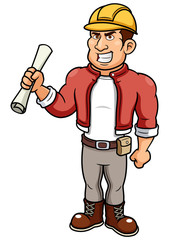 illustration of Cartoon Male Architect holding blueprint