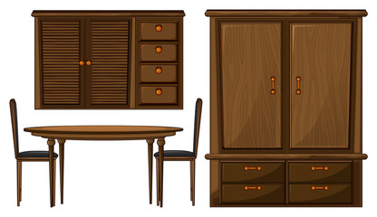 A dinning table and a wardrobe