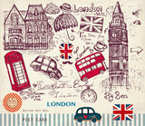 Vector hand drawn card with London symbols