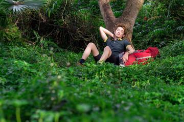 Resting tourist