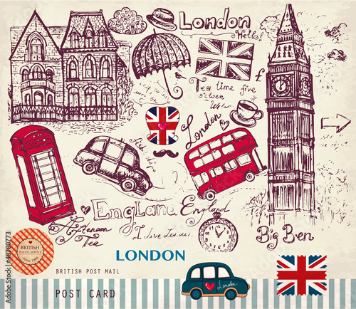 Sticker Vector hand drawn card with London symbols