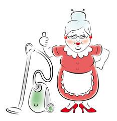 Иллюстрация улыбающейся бабушки с пылесосом.