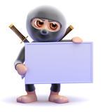 Ninja holds up a blank sign
