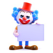 Clown holds up a blank sign