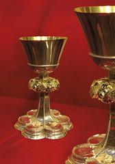 Kielichy mszalne, srebrne, złocone.