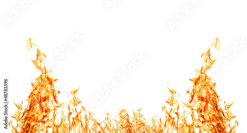 isolated on white half of orange fire frame