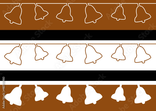 3 Frises cloches - couleur chocolat - Pâques