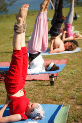 Yoga class near lake
