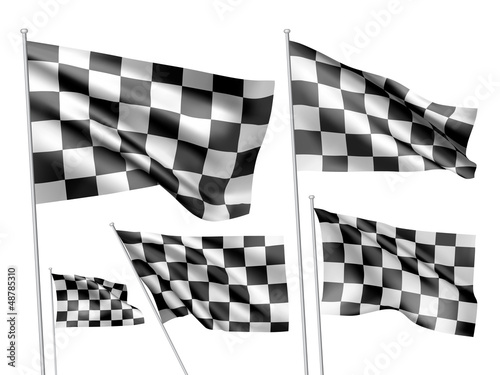 Racing chequered vector flags