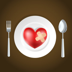 heart health concept fork, knife and heart